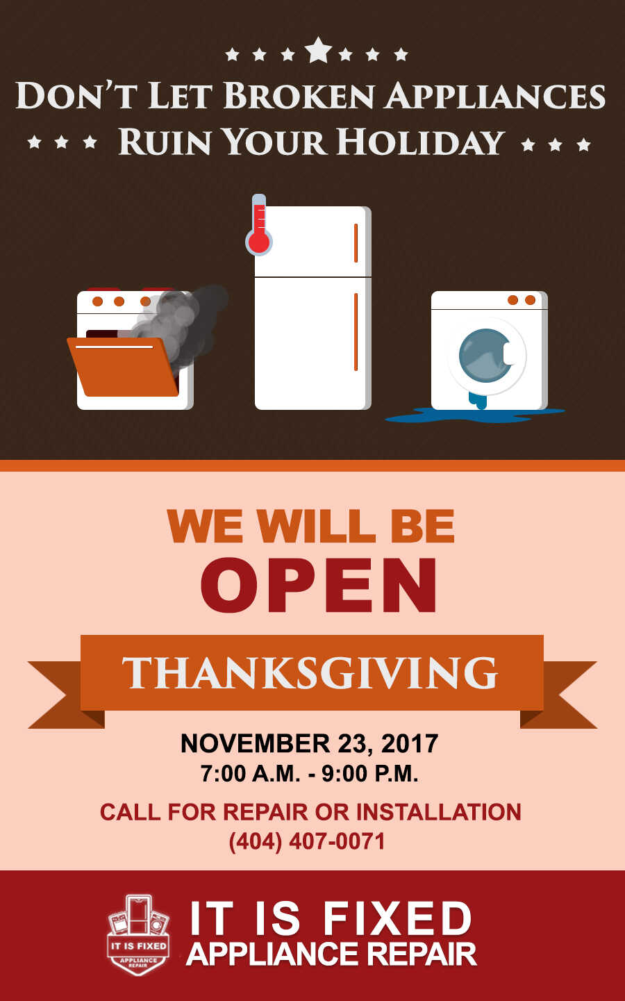 Thanksgiving Holiday Schedule - Black Friday Schedule - Appliance Repair - It Is Fixed