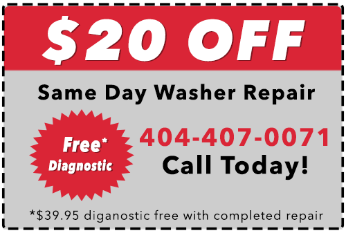 $20 Off Washer Repair Services in the Metro Atlanta Area